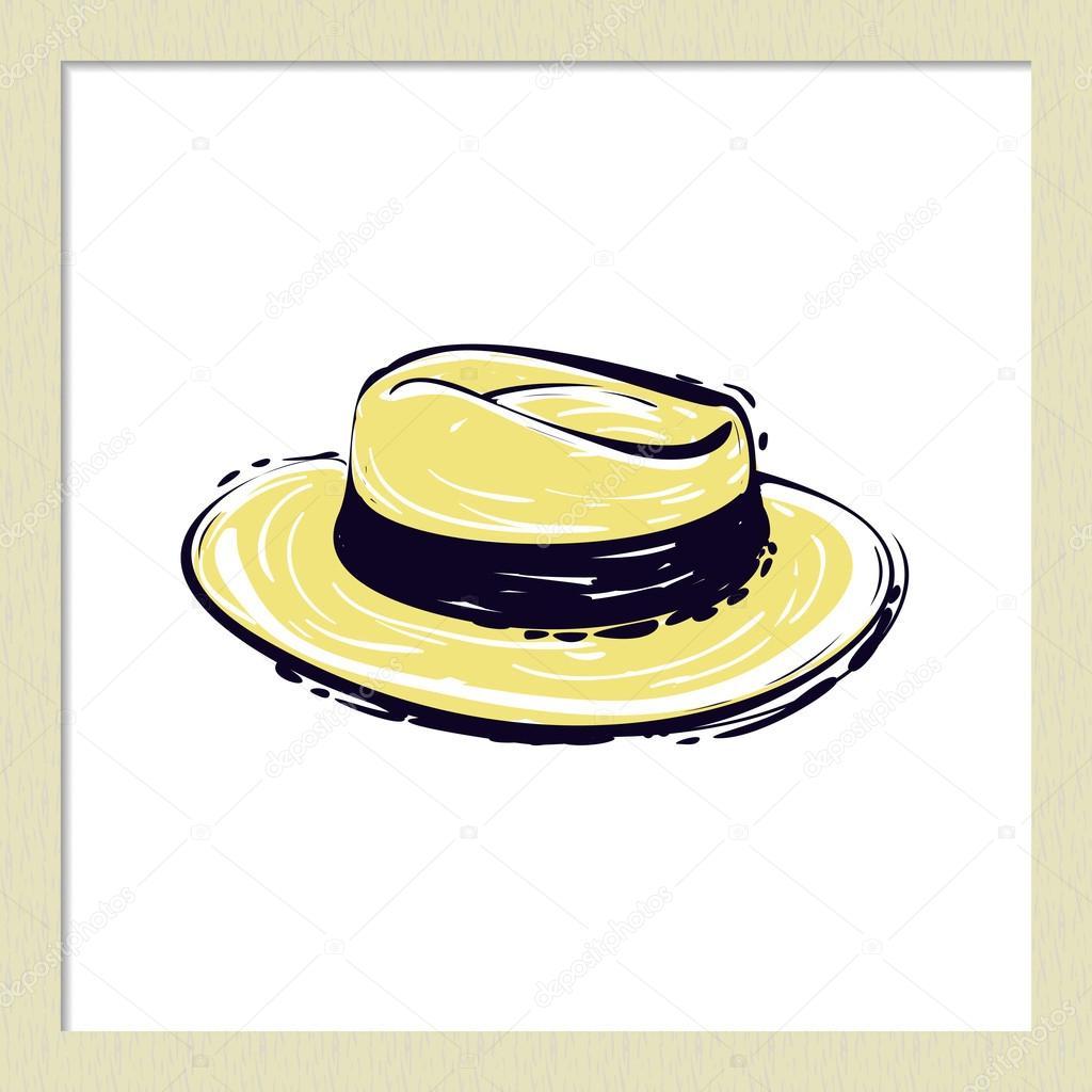 81c9631afda36 Mão desenhada verão moda ilustração  chapéu de palha na moda. Elemento de arte  vetorial isolado no fundo branco no estilo de desenho — Vetor de ...