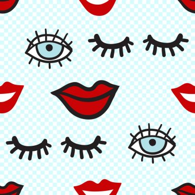 pattern with lowered lashes, blue eye, smile red lips.