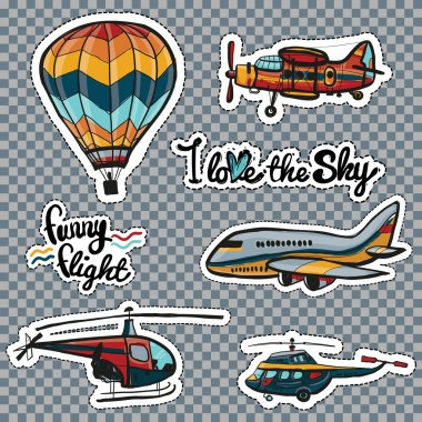 Set of kids style sky transport patches.