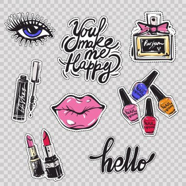 Beauty icons set background clip art vector