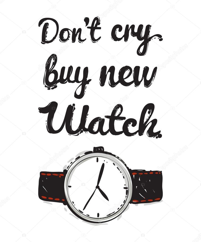 53233d892c6c Krásné ručně kreslenou módní vektorové ilustrace  Prodám nové hodinky  nápisy. Módní trend grafické glamour skica v módě stylu. Izolované vektorové  umění ...