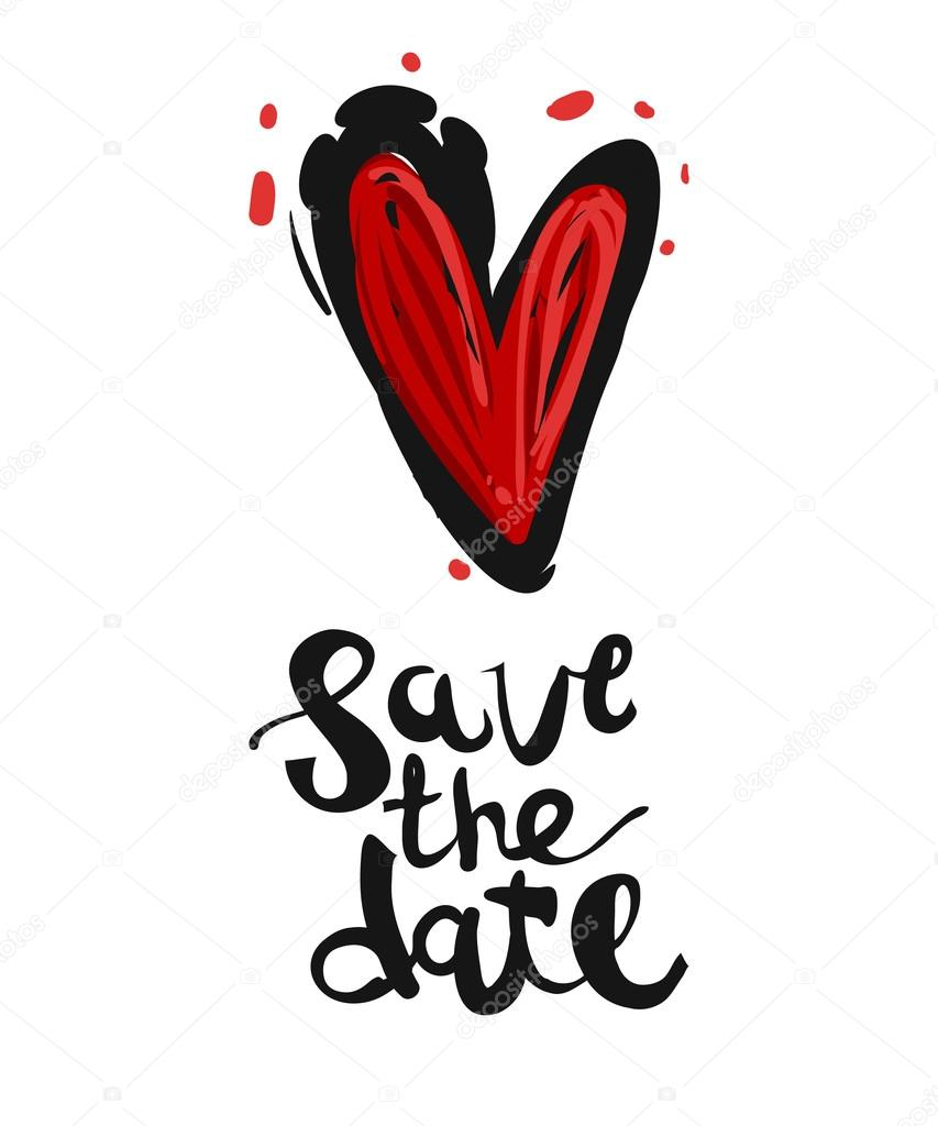 bc23acc8828a3 Save the date lettering and red heart. — Stock Vector © Sopelkin ...