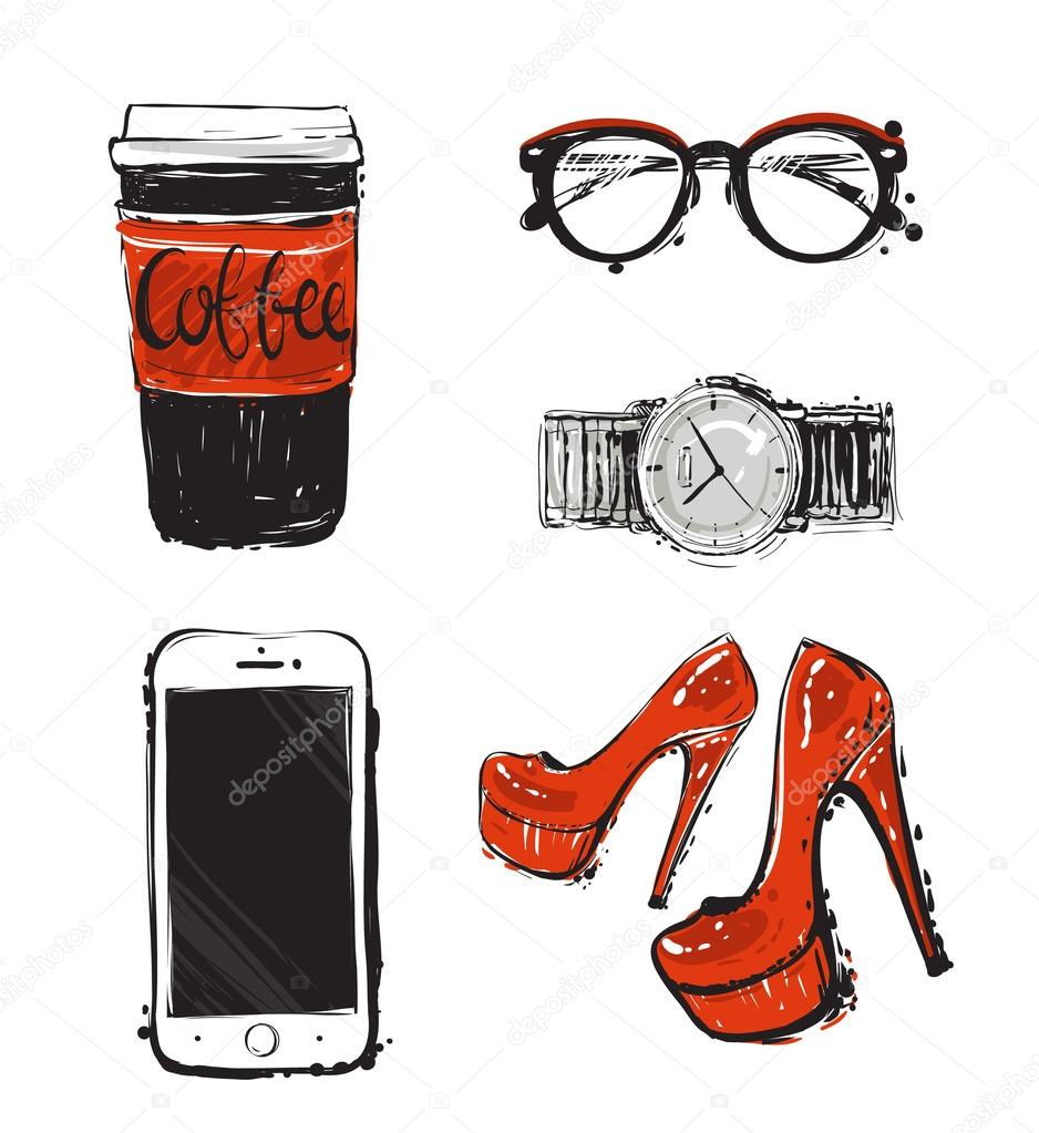 Coffee, phone, shoes, watches, sunglasse