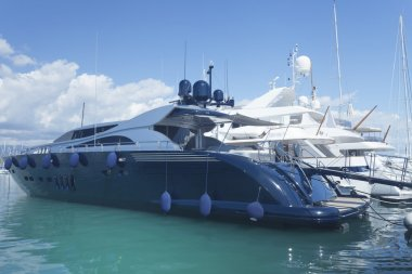 Navy blue and white super luxury yacht