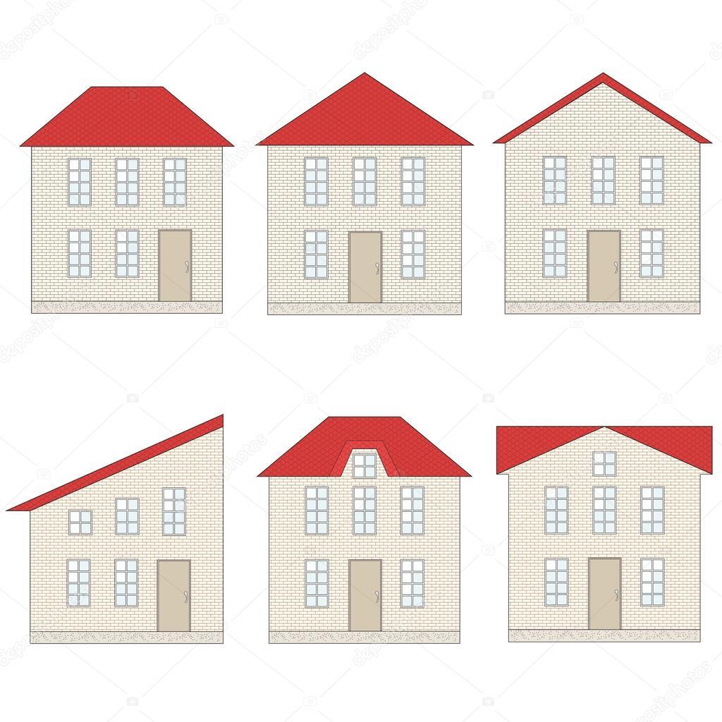 Conjunto de casas de ladrillo con techos de teja roja for Imagenes de casas con techos de tejas