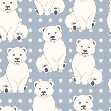 Polar bears seamless pattern