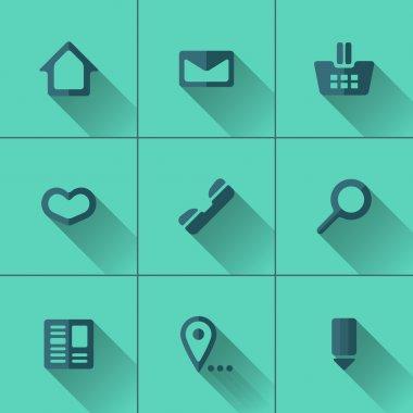 Set of blue icons for website menu. Flat design