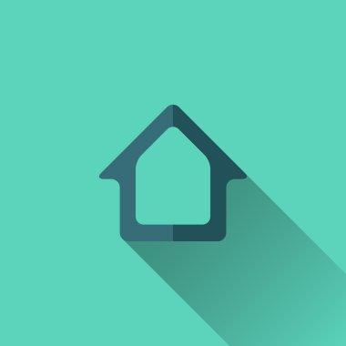 Blue home icon. Flat design