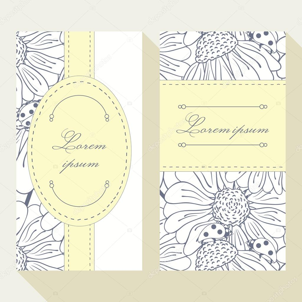 Business card set with outline ladybug and daisy