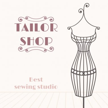 Vintage iron mannequin. Tailor shop background
