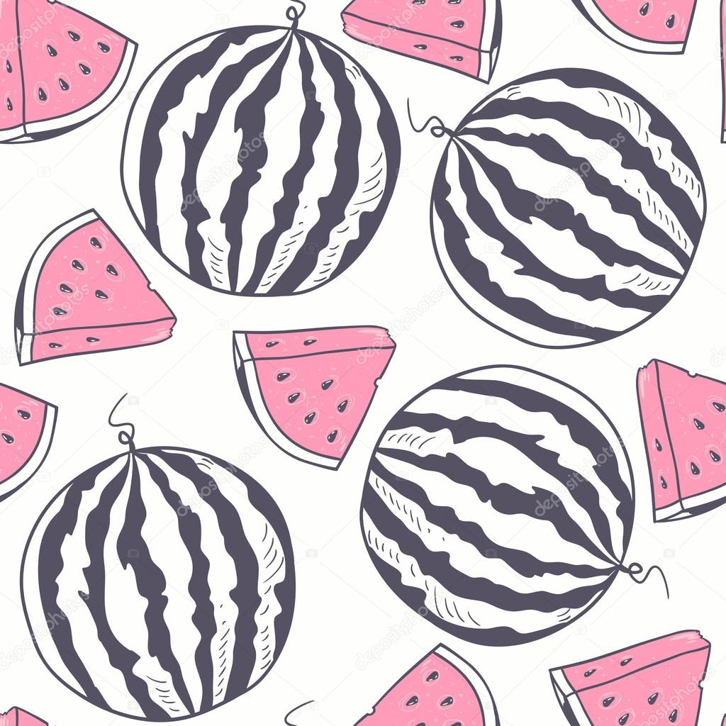 Watermelon with slice stylized seamless pattern