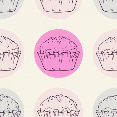Stylized muffins seamless pattern with circle
