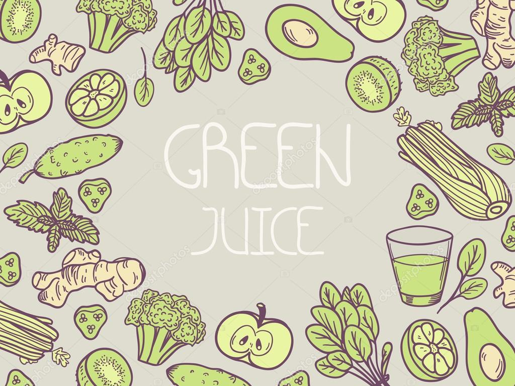 Green juice vector illustration. Background with vegetable frame