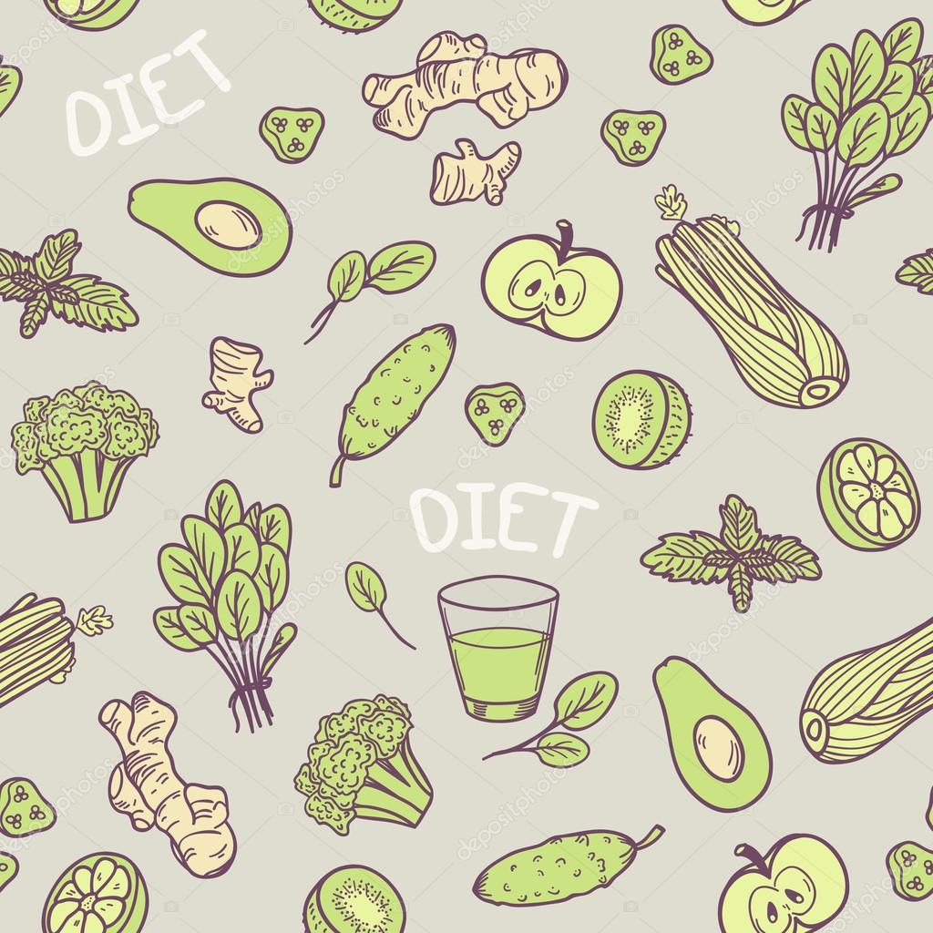 Hand drawn green vegetables seamless pattern in vector.  Healthy eating background
