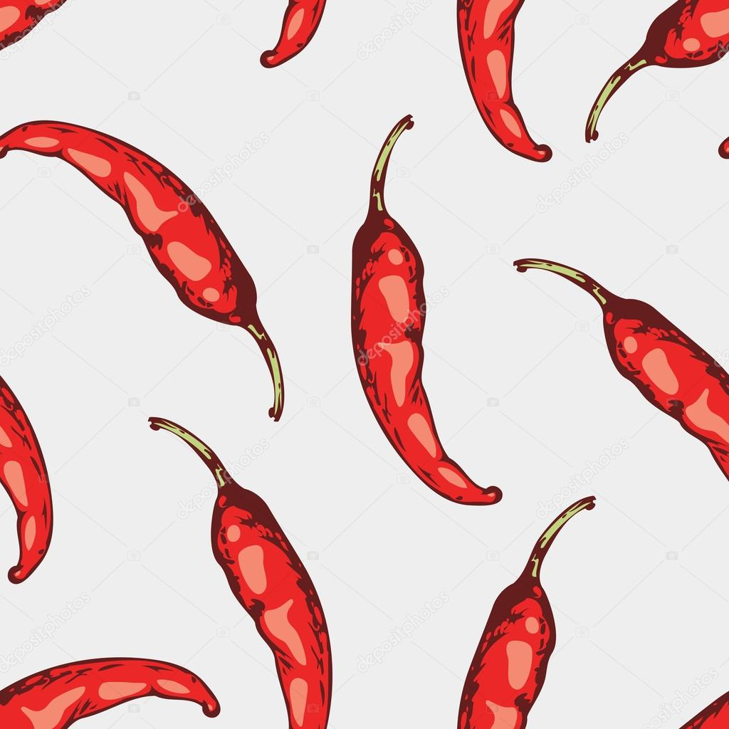 Seamless pattern with hand drawn spicy chili peppers