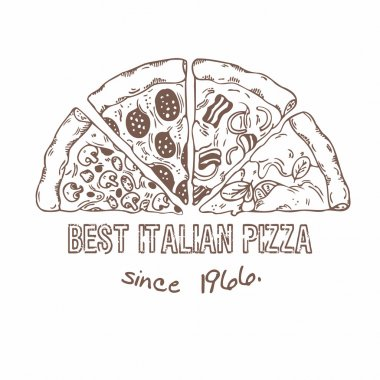 Half of pizza with different slices. Hand drawn food. Sketched vector illustration stock vector