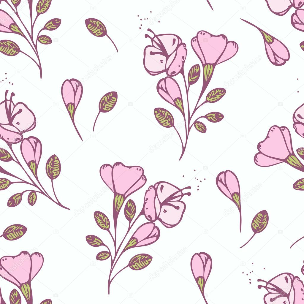 Hand drawn flowers seamless pattern. Vector illustration