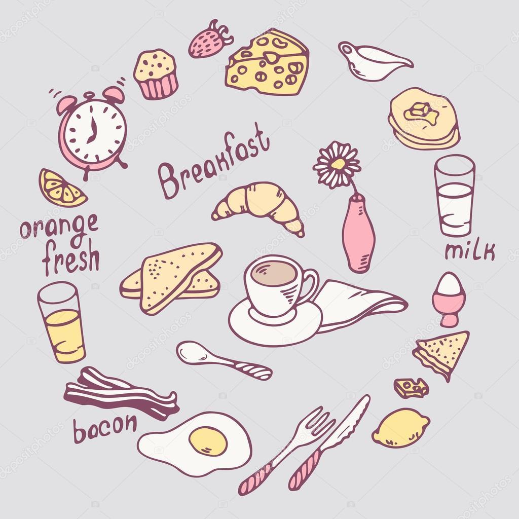 手描きの朝食項目を設定しますベクトルのかわいい食べ物イラスト