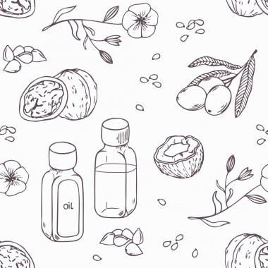 Healing oils outline seamless pattern. Healthy background