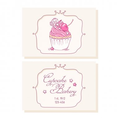Hand drawn cherry cupcake business cards template for pastry shop