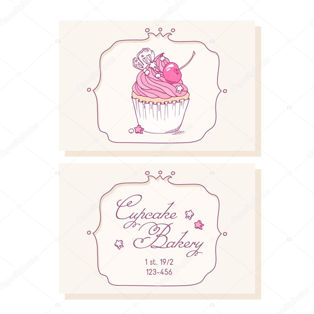 Hand drawn cherry cupcake business cards template for pastry shop hand drawn cherry cupcake business cards template for pastry shop stock vector cheaphphosting Image collections