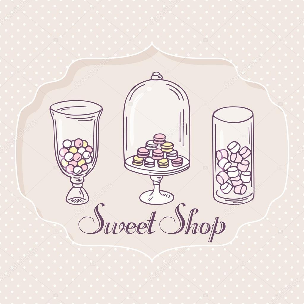Mano dibuja objetos de barra de caramelo. Sello de tienda de ...