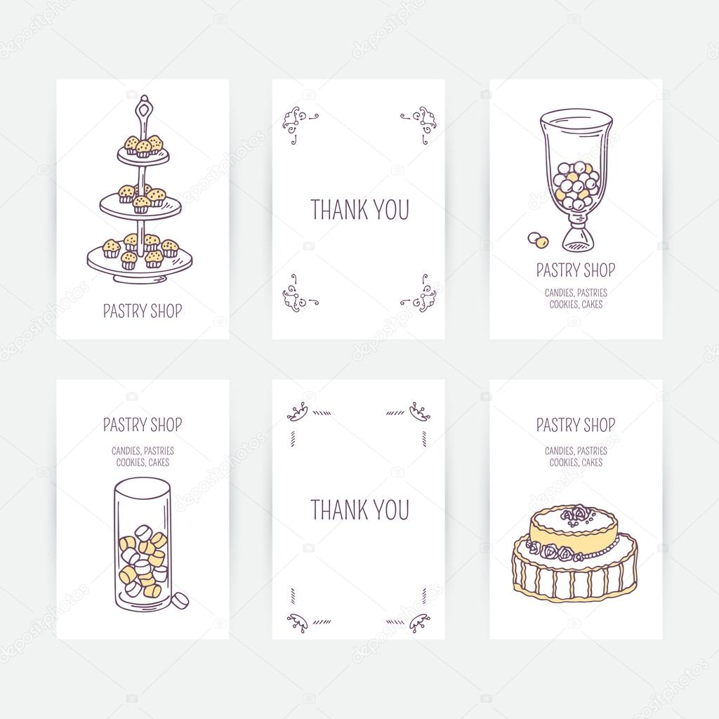 Business Card Set With Candy Bar Icons In Vector Hand Drawn Illustration Dessert Doodle Design Template For Pastry Shop Or Cafe Vecteur Par