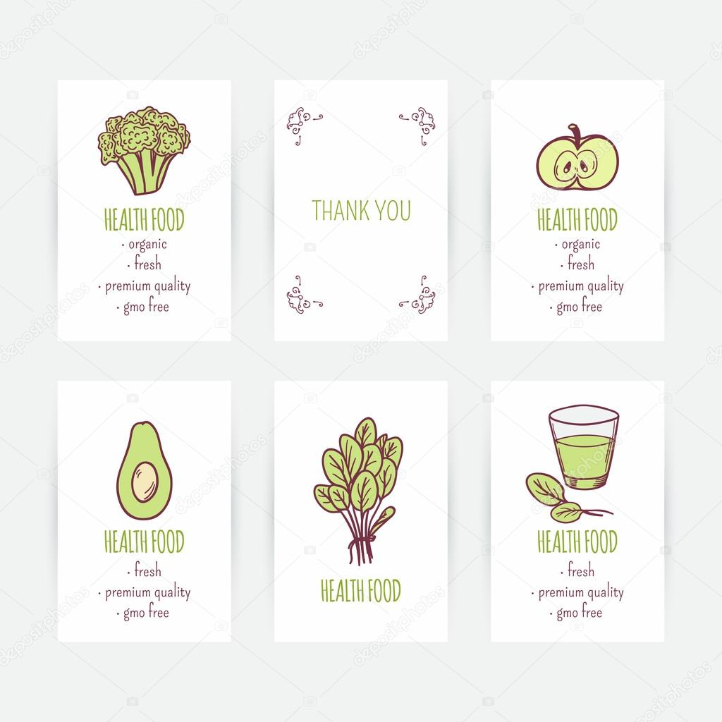Set Of Business Card Templates With Vegetarian Food Hand Drawn