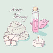 Fotografie Aromatherapy and spa hand drawn vector clip art