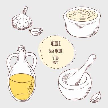 Aioli sauce recipe illustration in vector