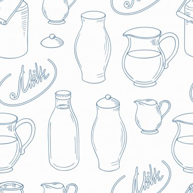 Outline seamless pattern with milk objects
