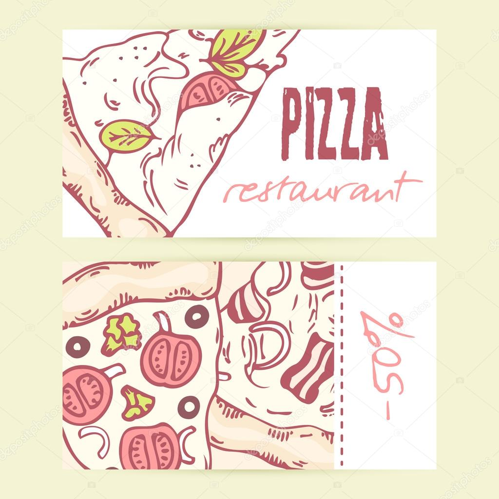 Business cards templates with different hand drawn pizza slices ...