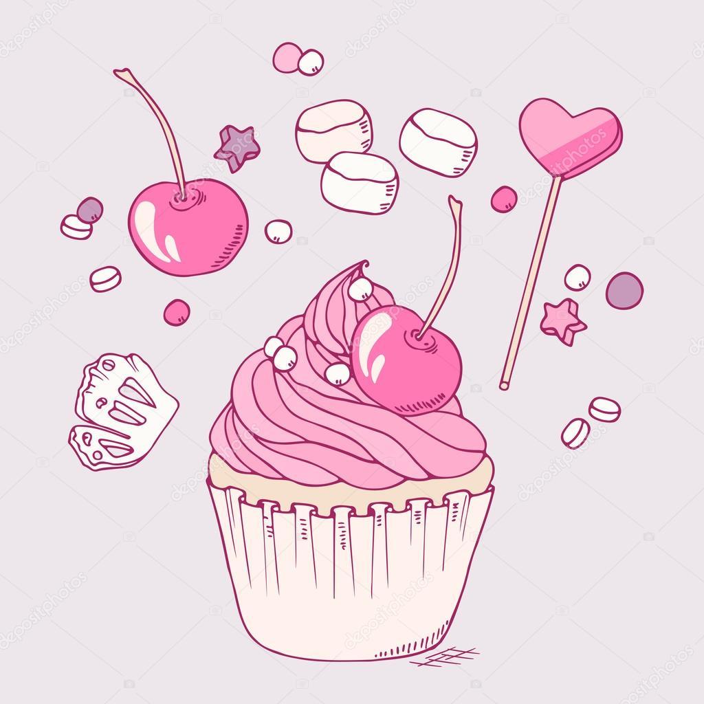 手描き桜のカップケーキ クリップアート — ストックベクター © stuja