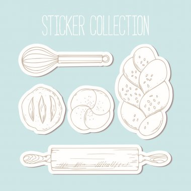 Bakery sticker collection with hand drawn food and culinary objects in vector