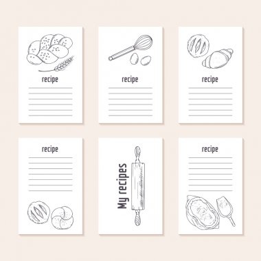 Recipe cards collection with hand drawn bakery objects