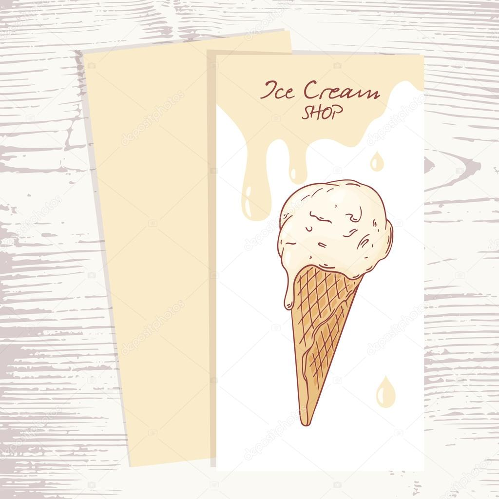 Cafe menu template with hand drawn ice cream in a waffle cone and ...
