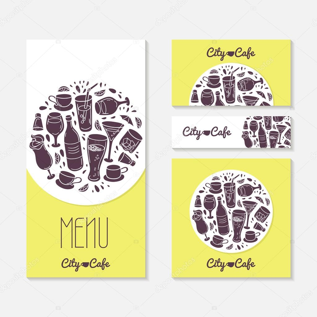 Set of identify cards templates with doodle drinks cafe branding tamplate menu business card banner flyer poster in vector illustration with place for text vetor de stuja reheart Choice Image