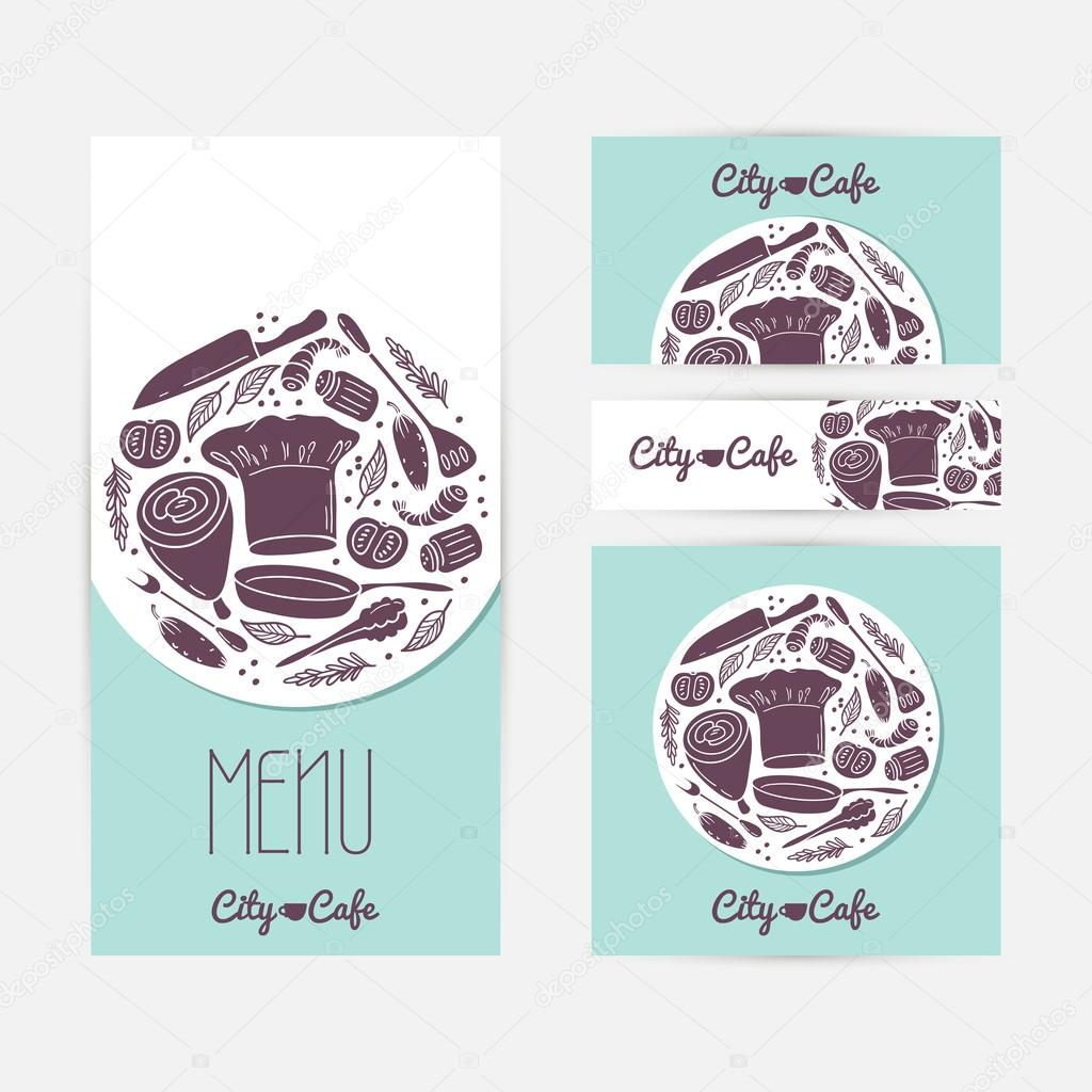 Set of identify cards templates with doodle food cafe branding set of cards templates with doodle food cafe branding template menu business card banner flyer poster in vector illustration with place for text reheart Gallery