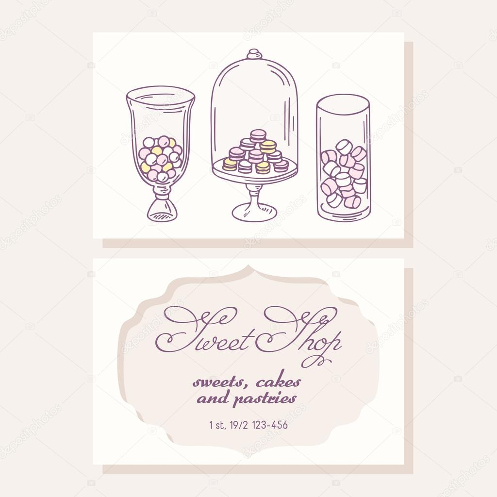 Hand Drawn Candy Bar Business Card Template For Pastry Shop Doodle Illustration Of Sweets In Vector Vecteur Par Stuja Trouver Des Images Similaires