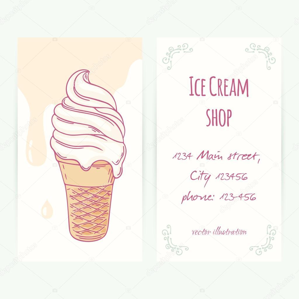 Plantilla de tarjeta de visita con mano dibujada helado en cono de ...