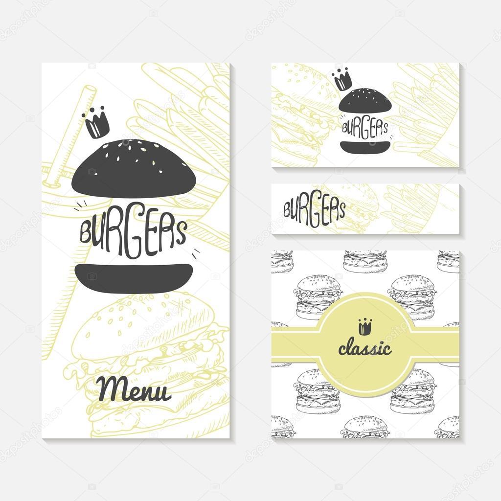 Jeu De Cartes Avec Burger Esquisse Image Marque En Restaurant Fast Food Modle Menu Carte Visite Bannire Papier Demballage Vecteur