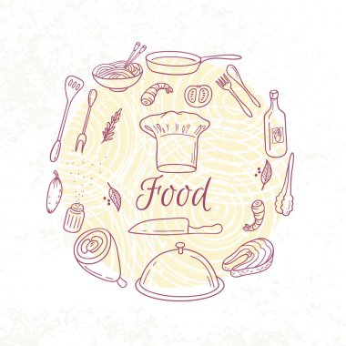 Round card with outline food icons. Doodle elements for menu design, cafe, books. Culinary background