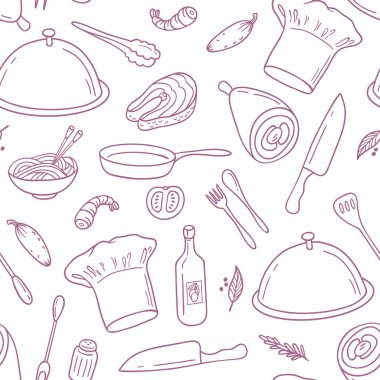 Outline seamless pattern with hand drawn food. Background for cafe or kitchen design