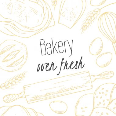 Bakery sketched illustrations in vector. Background with hand drawn groceries goods