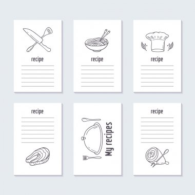 Recipe cards collection with hand drawn food
