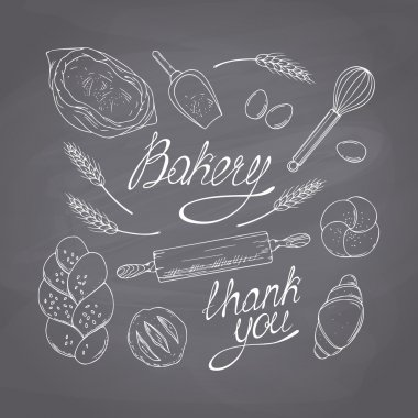 Bakery sketched objects. Hand drawn groceries goods collection. Chalk style vector illustration. Chalkboard food background