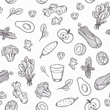 Hand drawn outline vegetables seamless pattern in vector.  Healthy eating background in black and white