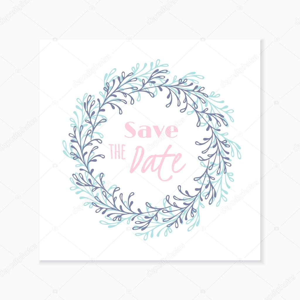 Wedding invitation card with hand drawn floral wreath doodle wedding invitation card template with hand drawn round floral wreath background with place for text doodle vector illustration vetor de stuja stopboris Gallery