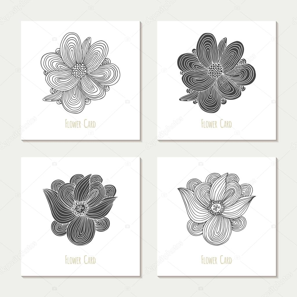 Wedding invitations set. Hand drawn outline and silhouette flowers ...