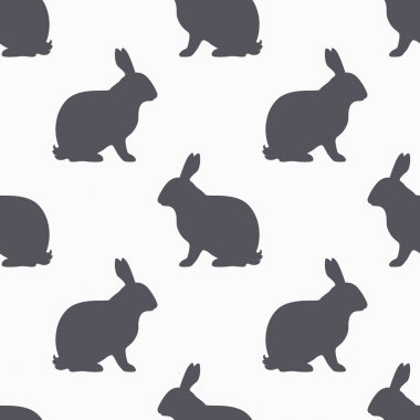 Hare silhouette seamless pattern. Rabbit meat background